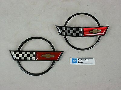 1984-90 C4 Corvette Nose AND Fuel Gas Door Emblems 84 85 86 87 88 89 90 Set-Pair