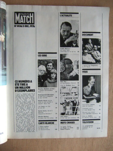 MAN RAY ALAIN DELON JEAN GABIN PARIS MATCH DECEMBRE 1976 N° 1436 ANDRE MALRAUX