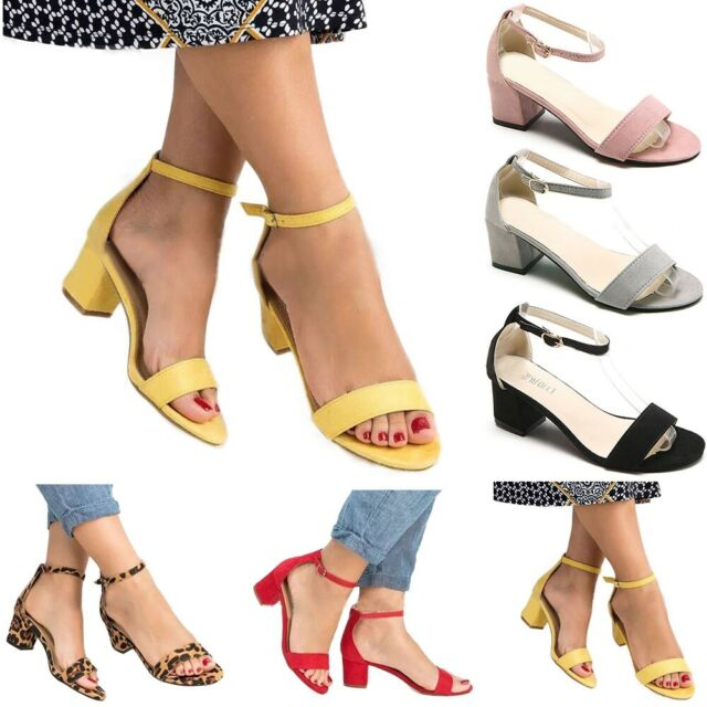 Women Ladies Low Block Heel Black Sandals Ankle Strap Work Smart Shoe Size 35-42