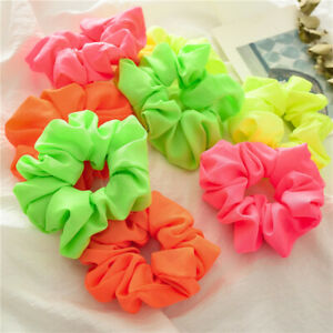 Fluorescent-Color-Scrunchies-Elastic-Hair-Ties-Ponytail-Bright-Hair-Accessory-G