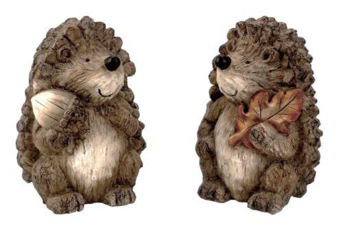 2 Stück Igel Figuren mit Nuss Blatt H 21 cm Dekofigur Herbst Garten Tierfigur