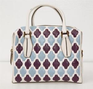 691e1040e73 TODS White Violet Blue MINI D-CUBE BAULETTO Bowler Tote Bag Handbag ...