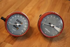 HONDA-GAUGE-SET-TWO-GAUGES-RED-SPEEDO-and-TACH-CB550-70S-Canadian-Seller-8