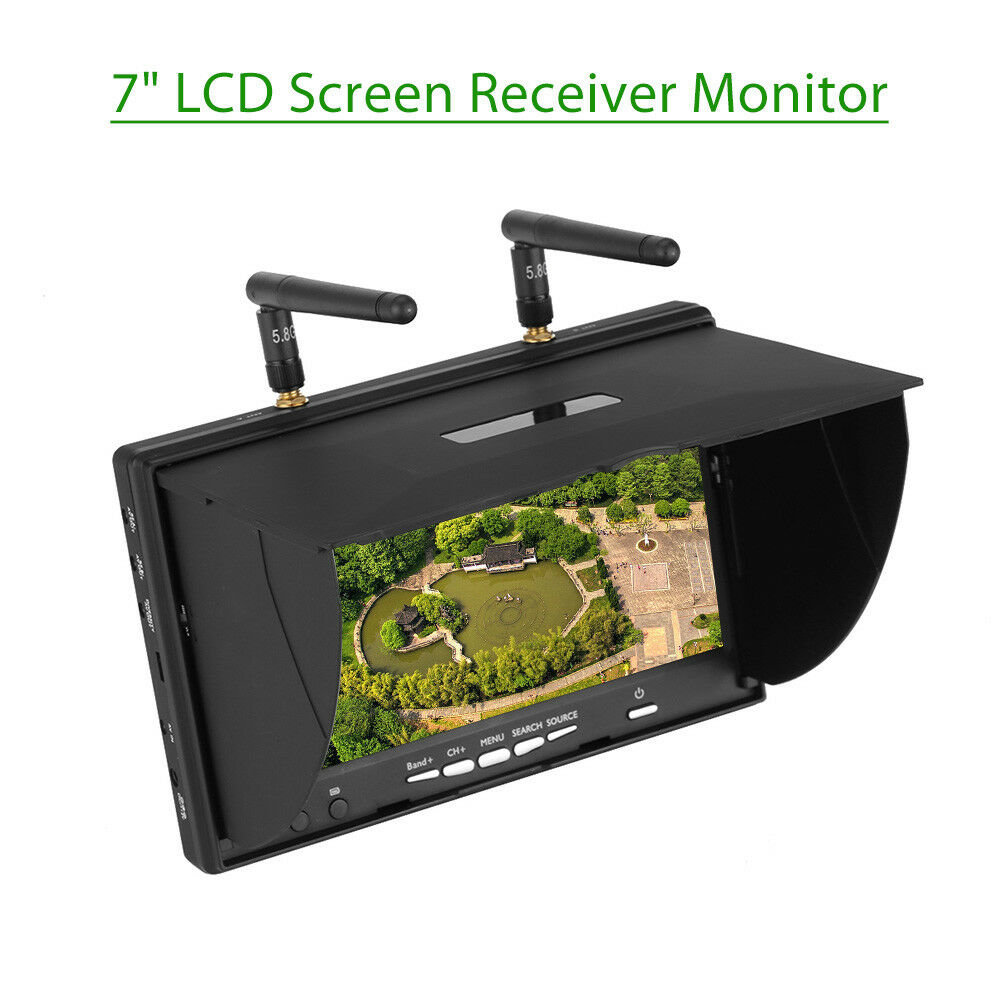 7'' TFT LCD FPV Monitor Display Dual Diversity Receiver 5.8G 40CH OSD For Drone
