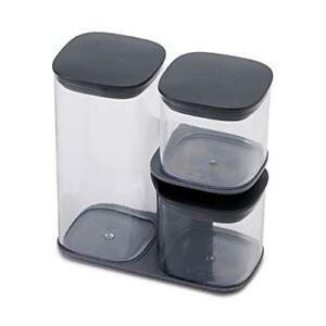Joseph-Joseph-Podium-3-Piece-Storage-Jar-Set-with-Stand-Grey