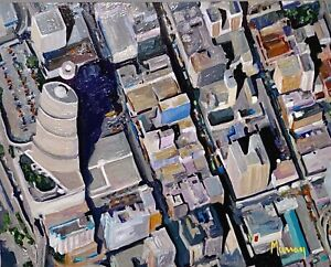 MURRAY ORIGINAL AERIAL VIEW PAINTING ABSTRACT IMPRESSIONIST MIAMI FLORIDA CITY
