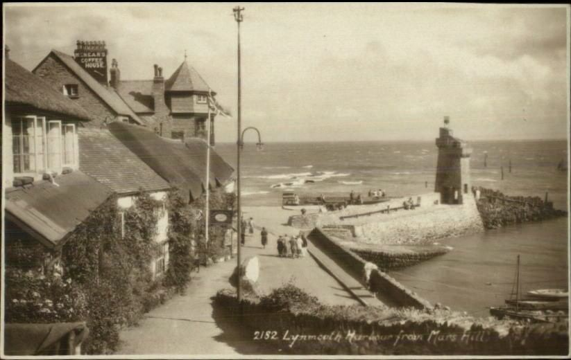 Lynmouth UK Lighthouse c1910 Real Photo Postcard