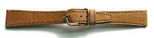 18mm-FLEURUS-PECCARY-GRAIN-DARK-TAN-FLAT-LEATHER-WATCH-BAND-STRAP-SILKY
