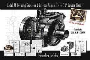 details about model jk economy kerosene & gasoline engine 1� to 2 hp  service manual parts list