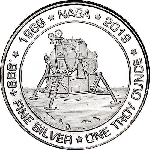 1969-2019 Apollo 11 50th Anniversary Commemorative 1 oz Silver USA Made BU Round