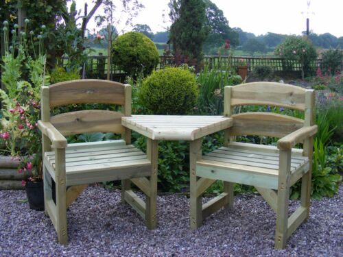 Garden Seat//Bench LOVE SEAT 2 CHAIRS /& DETACHABLE TABLE Del easily arranged