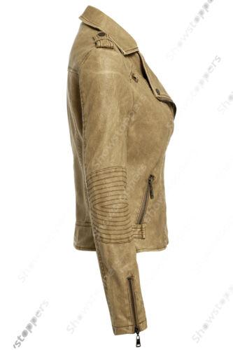 Size 8 10 12 14 16 NEW Womens BIKER JACKET Crop FAUX LEATHER Ladies ZIP Coat