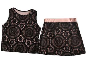 Girls Skirt /& Tank Top 2 Piece Set Black Lace Overlay Sizes 6-14
