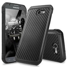 For Samsung Galaxy J3 Emerge Hybrid Carbon Fiber Slim TPU Armor Hard Case Cover
