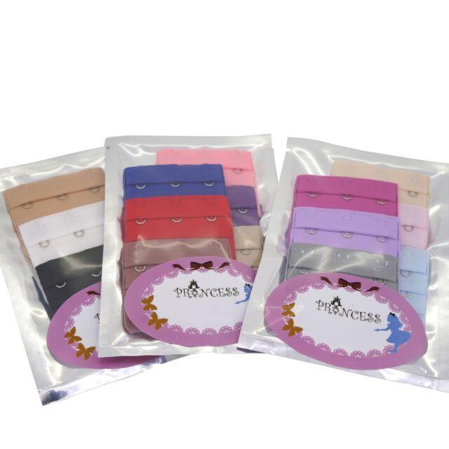 Wholesale Lot of Women Adjustable Spacing Bra Extender Clip Multi Color, 3 Hooks