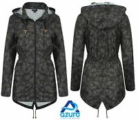 Ladies Rain Mac Parka Womens Fishtail Jacket Festival Coat Khaki 8 10 12 14 16