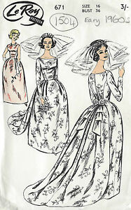 1960s-Vintage-Sewing-Pattern-B36-WEDDING-or-EVENING-DRESS-amp-TRAIN-1504R