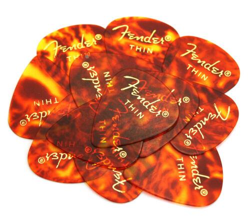 12 Fender THIN Classic Shell Celluloid 351 Guitar//Bass Picks 098-0351-700