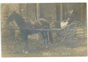 RPPC-Old-Man-Horse-and-Buggy-KEUKA-LAKE-NY-Yates-County-Real-Photo-Postcard
