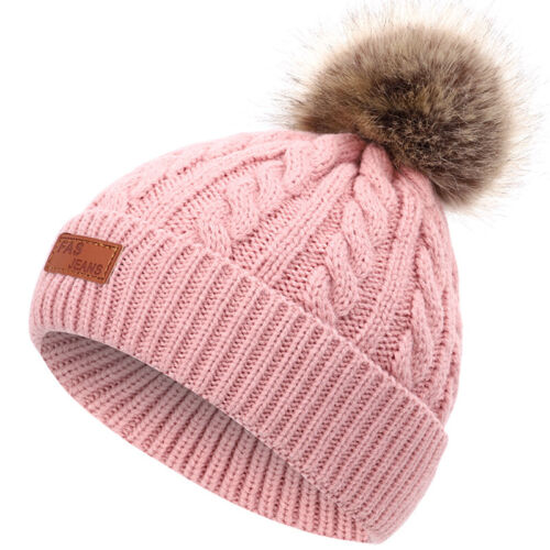 Newborn Girl Boy Baby Infant Winter Warm Cute Fur Pom Knit Hat Bobble Beanie Cap