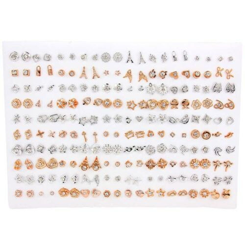 100Pairs//Set Mixed Style Cute Heart Stud Earrings For Women Girls Jewelry Gift