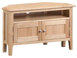 new styles 10005 b644a Details about Bergen Light Oak 2 Door Corner TV Unit Cabinet / Stand -  Scandinavian Retro