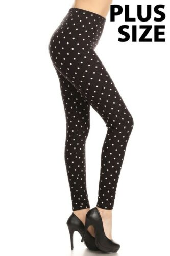 Black with White Polka Dots Women/'s Leggings OS One Size 2-12 Super Soft