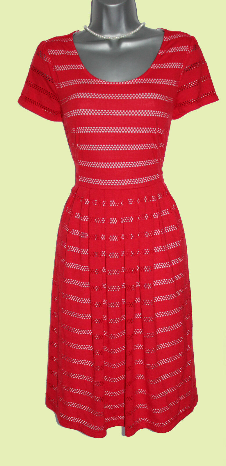 MONSOON rot Weiß Calypso Knee Length Short Sleeve Day Classic Dress 10  EU 38