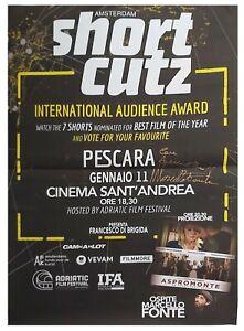 Marcello-Fonte-Poster-Short-Cutz-Pescara-Autografato-Autografo-Signed-Cinema