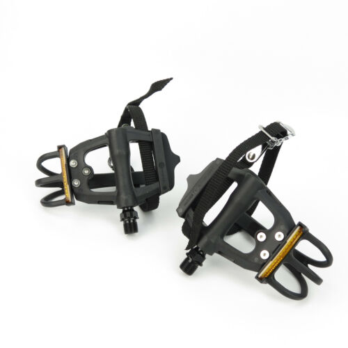 """Black VP Components VP-335T Bike Bicycle Ball Bearings 9//16/"""" Toe Clip Pedals"""