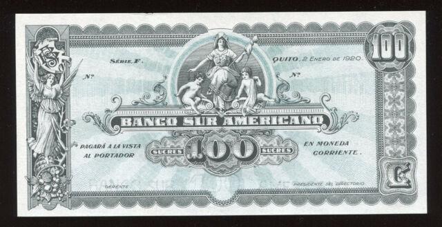 Ecuador 100 Sucres 1920 Banco Sur Americano Remainder P. S254 AU/UNC