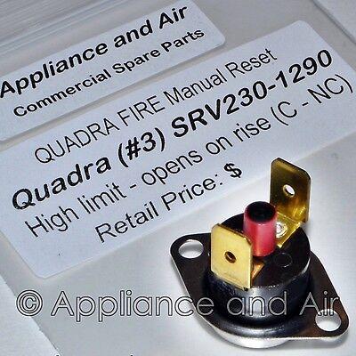 QuadraFire Pellet Stove Limit Switch Manual Reset Snap Disc #3 SRV230-1290 inst
