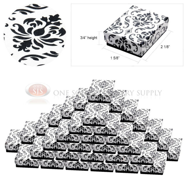 """50 Damask Print Gift Jewelry Cotton Filled Boxes 2 1/8"""" x 1 5/8"""" x 3/4"""" Rings"""
