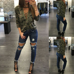 damen v ausschnitt camouflage bluse t shirt langarm oberteile beil ufige tee neu. Black Bedroom Furniture Sets. Home Design Ideas