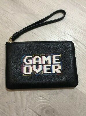 Coach Pac Man x Coach Game Over Black Leather Wristlet F73399 BNWT
