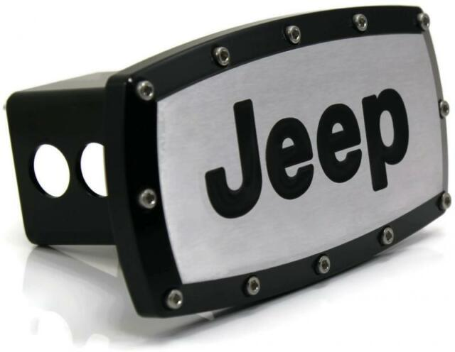 "USED Jeep Logo 2"" Tow Hitch Cover Plug Engraved Billet Black Powder Coated"