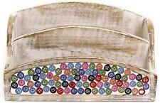 Wooden Mosaic Button Letter Rack Decor Holder Tray Vintage Organiser File Post