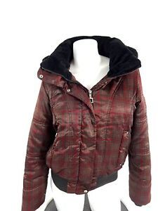 Zeroxposur Womens Brown Plaid Satin Hooded Ski Jacket Size