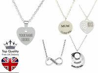 Personalised Engraved Name Necklace  White Gold Plated, Heart Love Tree, Gift