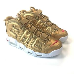 1a1148fe1536 NWT Nike Supreme NY Mens Gold Metallic Air More Uptempo Sneakers 10 ...