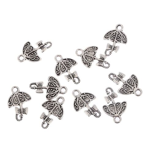Cute Umbrella Alloy Beads Tibetan Silver Charms Pendant Bracelet 10pcs 15*12mm