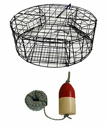 KUFA Vinyl Coated Round Crab Trap with 100' Lead Rope and 6 X14  Float Combo