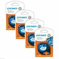 4pk Dymo Letra Tag White Plastic Label Tapes (new & Improved Letratag Cassettes)