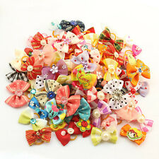 100X New Lovely Flowers Pet Dog Hair Bows with Rubber band Grooming Accessories