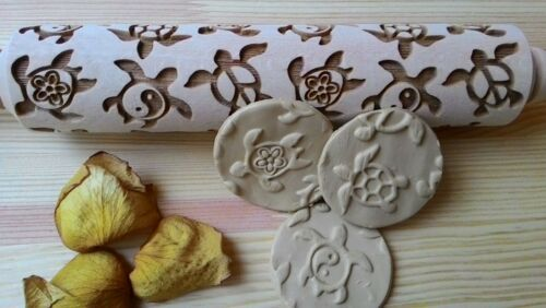 Wooden Rolling Pin Turtles Pattern Embossing Laser Cut Small Big