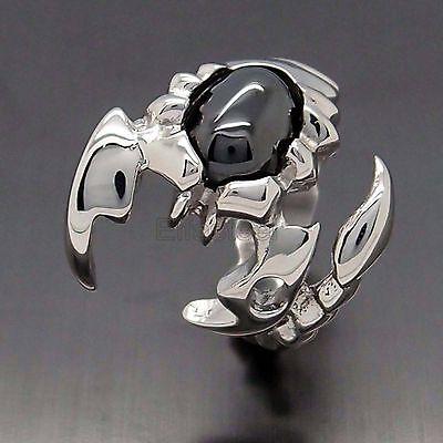 Men Black Cubic Zirconia 316L Stainless Steel Scorpion Biker Ring