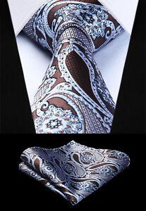 Woven Men Tie Brown White Paisley Necktie Handkerchief Set# TP944U8S