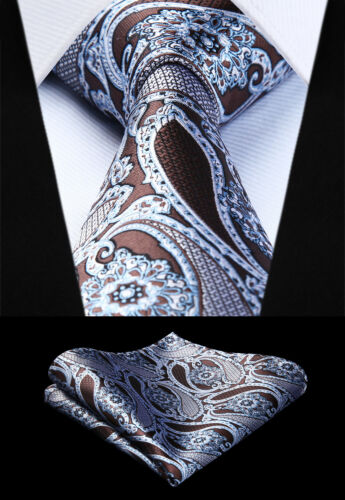 Tissé Hommes Tie Brown White Paisley Cravate Mouchoir Ensemble # TP944U8S