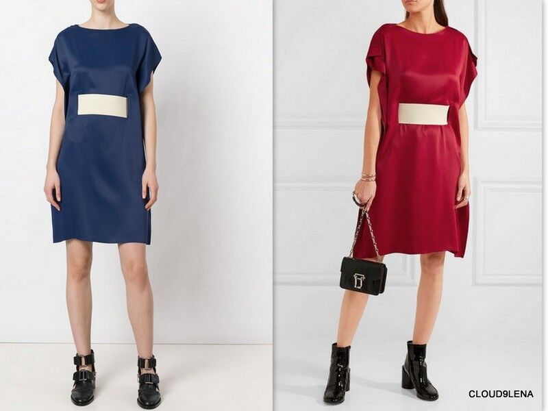 NWT MAISON MARGIELA MM6 (Made in ITALY) blueE Belted luxe satin Dress US S IT 40