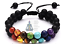 miniature 1 -  Genuine Double Bracelet Natural Gemstone 7 Chakra Beads Macrame Healing Reiki
